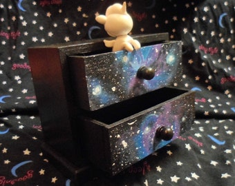 Hand Painted SPACE CASE Jewelry Mini Wood Box