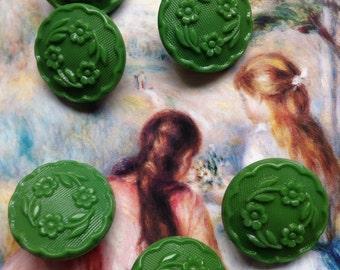 8 beautiful old collector / glass buttons - buttons Art Nouveau - dark green flower pattern