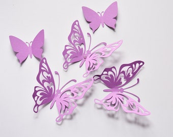 Purple Butterfly Wall Decor - Birthday Paper Butterflies - 3D Paper Butterflies - Butterfly Party Decoration - Butterfly Birthday Decor