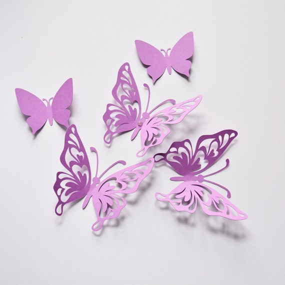 Purple butterfly wall decor birthday paper butterflies 3d for How to make paper butterflies for wall