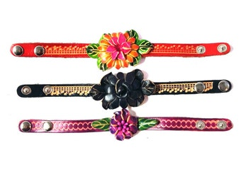 Genuine Leather Bracelet, Big Flowers Leather Bracelet, HFF152413