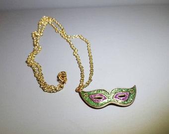 Green Masquerade Mask Pendant Necklace