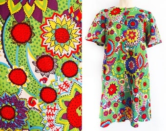 Super colourful vintage dress from Finland, flower power, floral dress, size EU 42 / UK 14 / US 12