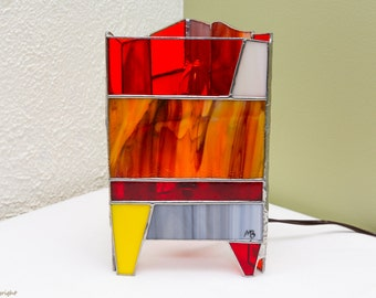 Triangular stained glass Tiffany lamp