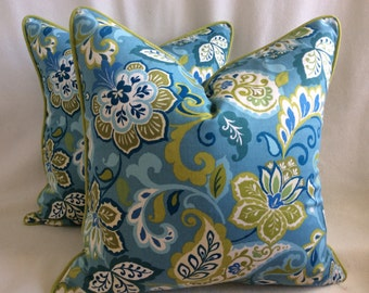 Modern Floral Designer Pillow Cover Set - 2pc - Tropical Blue/Lime Green