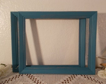 Blue Picture Frame 11 x 14 Rustic Shabby Chic Photo Decoration Up Cycled Vintage Wood Beach Cottage Coastal Seaside Island Home Decor Gift
