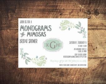 Monograms & Mimosas Mint Floral Invitation