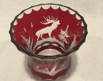 Burgundy Cut to Clear Crystal Bud Vase - CA 1950's - Item CR 5