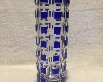 Blue & Clear Crystal Vase - CA 1950's - Item CR 6