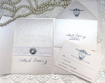 GRACE-KELLY/Ultra Chic Wedding/Lace Invitation/Baroque Wedding Invitation/Luxury Invitation