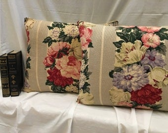 Farmhouse Floral Pillows, LOT of 2, Cabbage Roses Nubby Barkcloth 1940s Vintage Fabric Cottage Chic Decorative Pillow Home Decor Bark Cloth
