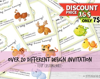 Baby Shower Invitation - With over 20 different Cuties Animals - Text Customizable