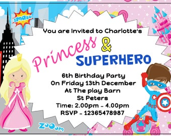 Princess and Superhero PERSONALISED Birthday Party Invitations x 10