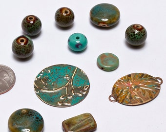 Teal Bead Mix, Patina Metals, Stoneware, Necklace Supplies, Art Beads, Bead Supplies, Jewelry Supplies