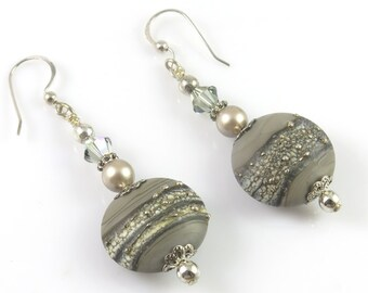 Gray and Silver Lampwork Earrings, Pearl and Crystal Earrings, Dangle and Drop, Lampwork Jewelry, Long Earrings
