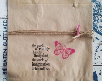 12 lovely hand stamped Kraft Favor Bags / paper bags, wedding favor bags, tea party favor bags, treat bags