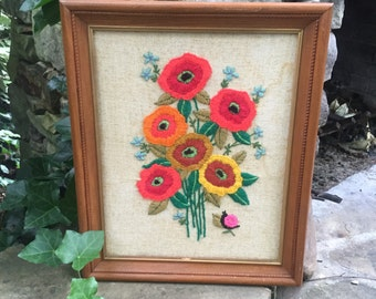 Vintage Crewel Poppy Framed