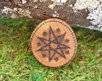 Faerie Star: Red Oak wood Faerie or Elven Star amulet good luck charm talisman