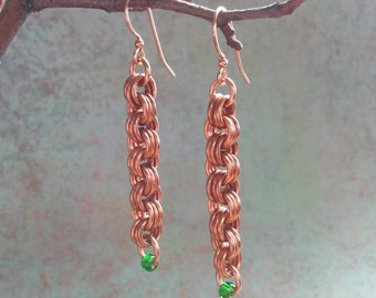 Ginger: Copper chainmaille earrings with green glass beads