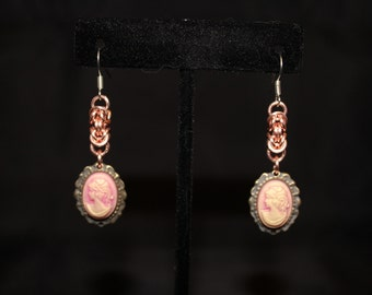 Unique pink cameo with chain maille accents