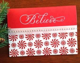 Believe Red Candy Christmas Cards (set of 8)
