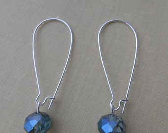Drop Earring with blue green facet glass beads.