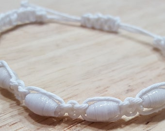 White Knotted Paper Bead Bracelet