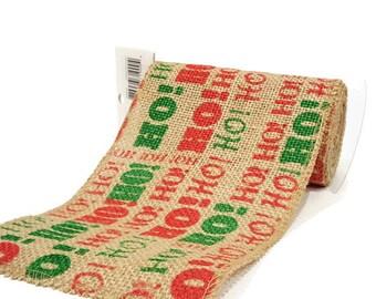 Christmas Red, Green and Beige Ho Ho Ho Printed Burlap Fabric