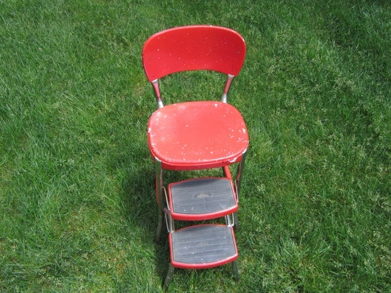 Cosco Stylaire Step Stool Red Vintage Mid Century Atomic Retro