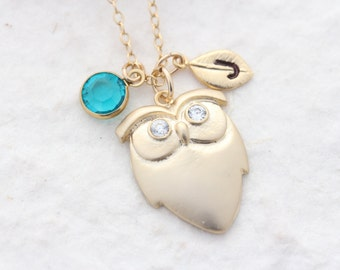 Gold owl necklace, custom initial and/or birthstone. choose Gold filled chains