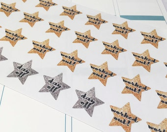 Worked Out Glitter Star Stikers for Planners New Years Resolution
