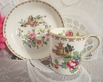 Asian Style Demitasse Cup and Saucer, Asian Style China, Pagoda Style Demitasse Cup and Saucer, Made In England Cup and Saucer, Asian Style