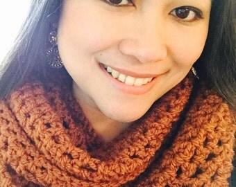 Brown infinity crochet scarf
