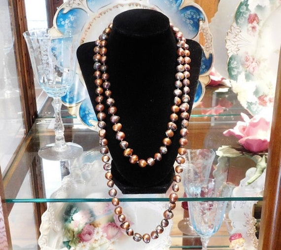 """Freshwater Pearl Necklace / 10mm Dyed Pearl Necklace / 48"""" Rope Length"""