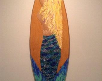 Mermaid Surfboard - Surfboard - Mermaid Surf Board - Painted surfboard - wood surfboard - wooden surfboard - surfboard wall hanging