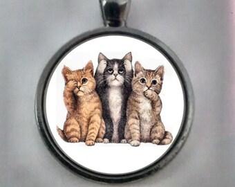 Cat Pendant, See No Evil , Speak No Evil, Hear No Evil,  See Hear Speak No Evil, Cat Necklace, Cat Jewelry. 3 Cats Pendant.