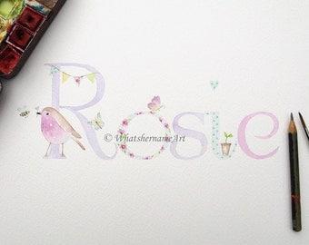 Personalized Chidren's Art, Watercolour Girl's Name Art, Custom Name Painting, Baby Name Art, Nursery Decor, Girl's Room Decor, Baby Gift.