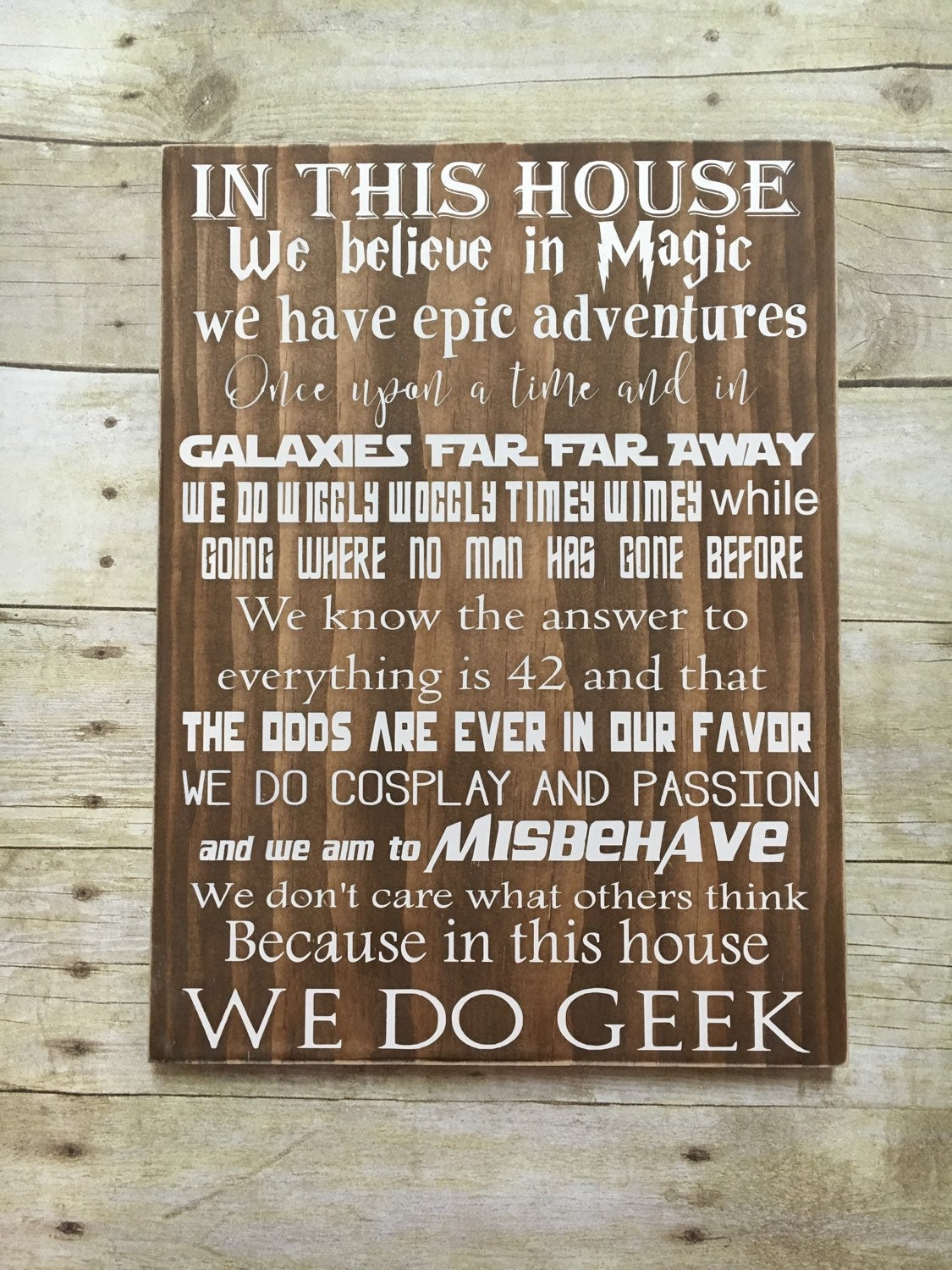 This House With Bluestone Walls Overlooks The Landscape: In This House We Do Geek Wood Sign 12x15 12x20 Birthday