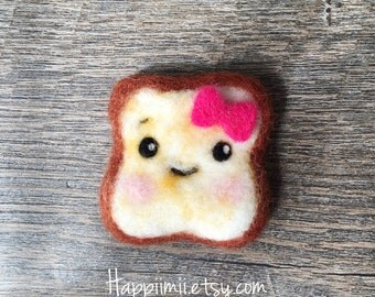 Cute Toast Magnet or Pin made with 100% Pure Wool - Girl/Pink