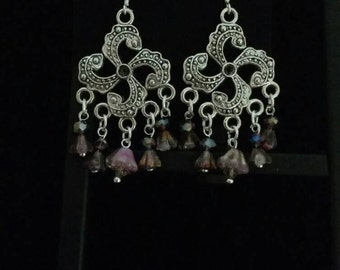 Czech Glass Chandelier Earrings