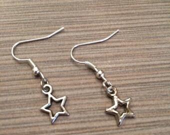 silver star charm earrings