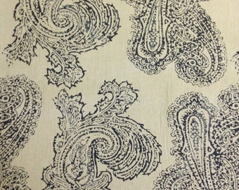 Black Paisley Print on Olive Green Background, 100% Cotton