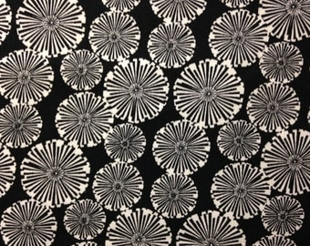 Black and White Flowers on Black Background, 100% Cotton