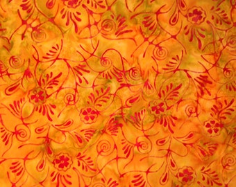 Batik - Orange with Red Flower Swirls, 100% Cotton