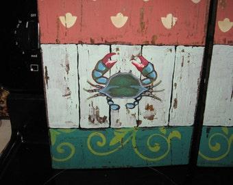 Crab Hand Painted Crab Distressed Wood Wood Crab Crab Art Blue Crab Custom Crab