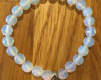 Opalite & shell charm bracelet