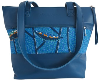 Bag 100% leather - Blue - African night