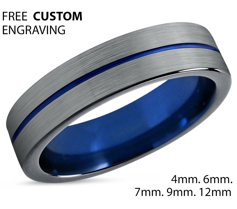 Tungsten Ring Mens Brushed Silver Black Blue Wedding Band