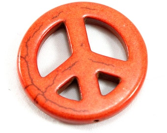 Extra Large Howlite Peace Sign Pendant. Orange Howlite Pendant. Orange Stone Pendant. Round Peace Symbol Pendant Red Peace Sign Jewelry 35mm