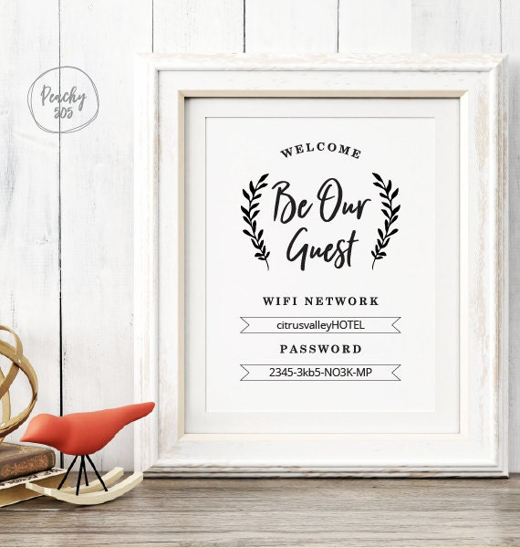 Printable WIFI password sign guest room wifi sign printable